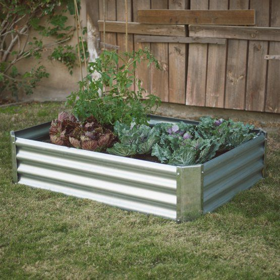 Belham Living Emery Corrugated Metal Raised Garden Bed with Lining ...