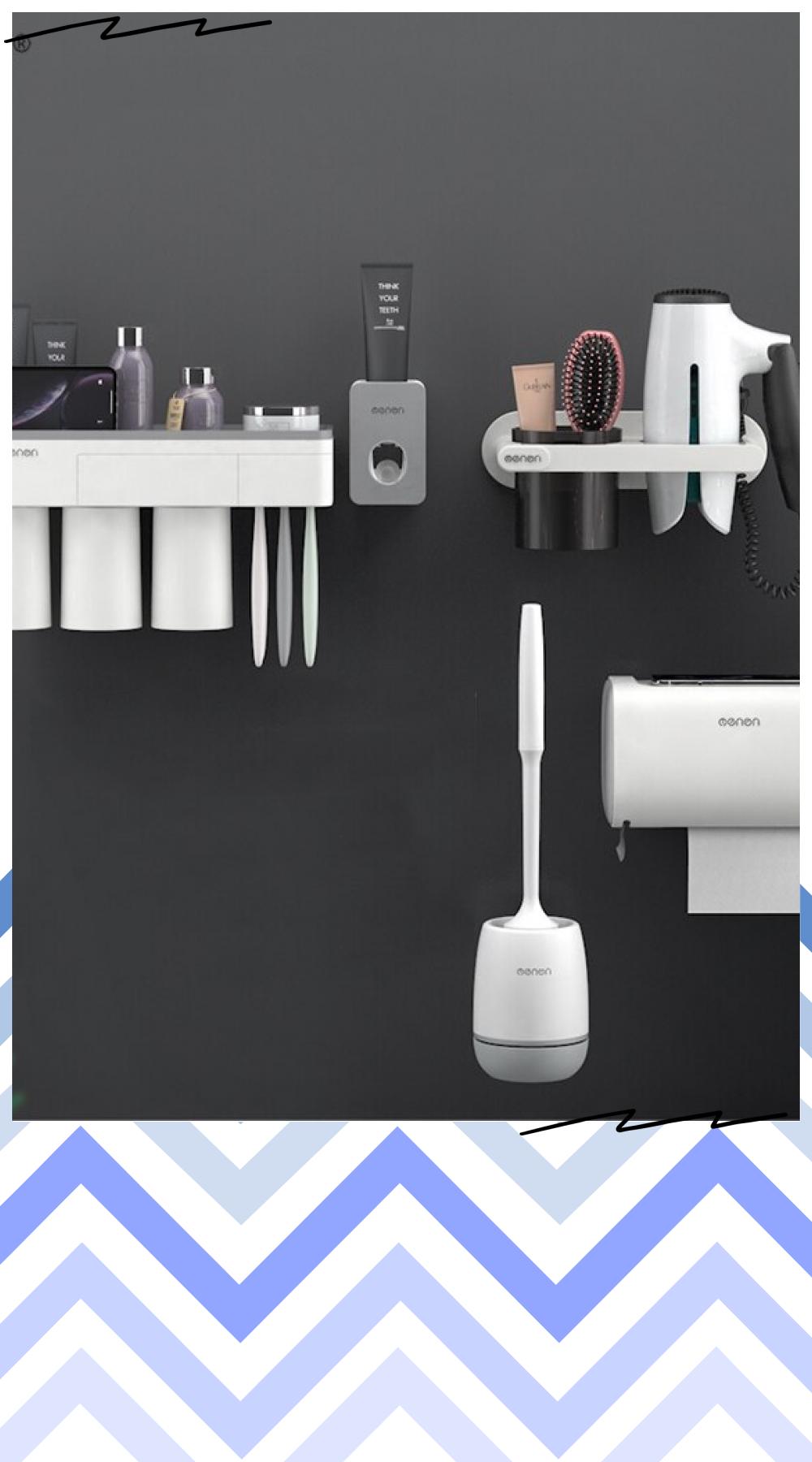 For Bathroom Accessories Set Multi Function Toothbrush Holder Toilet Brush Tissue Box Toothpaste In 2021 Bathroom Accessories Sets Bathroom Accessories Bathroom Decor
