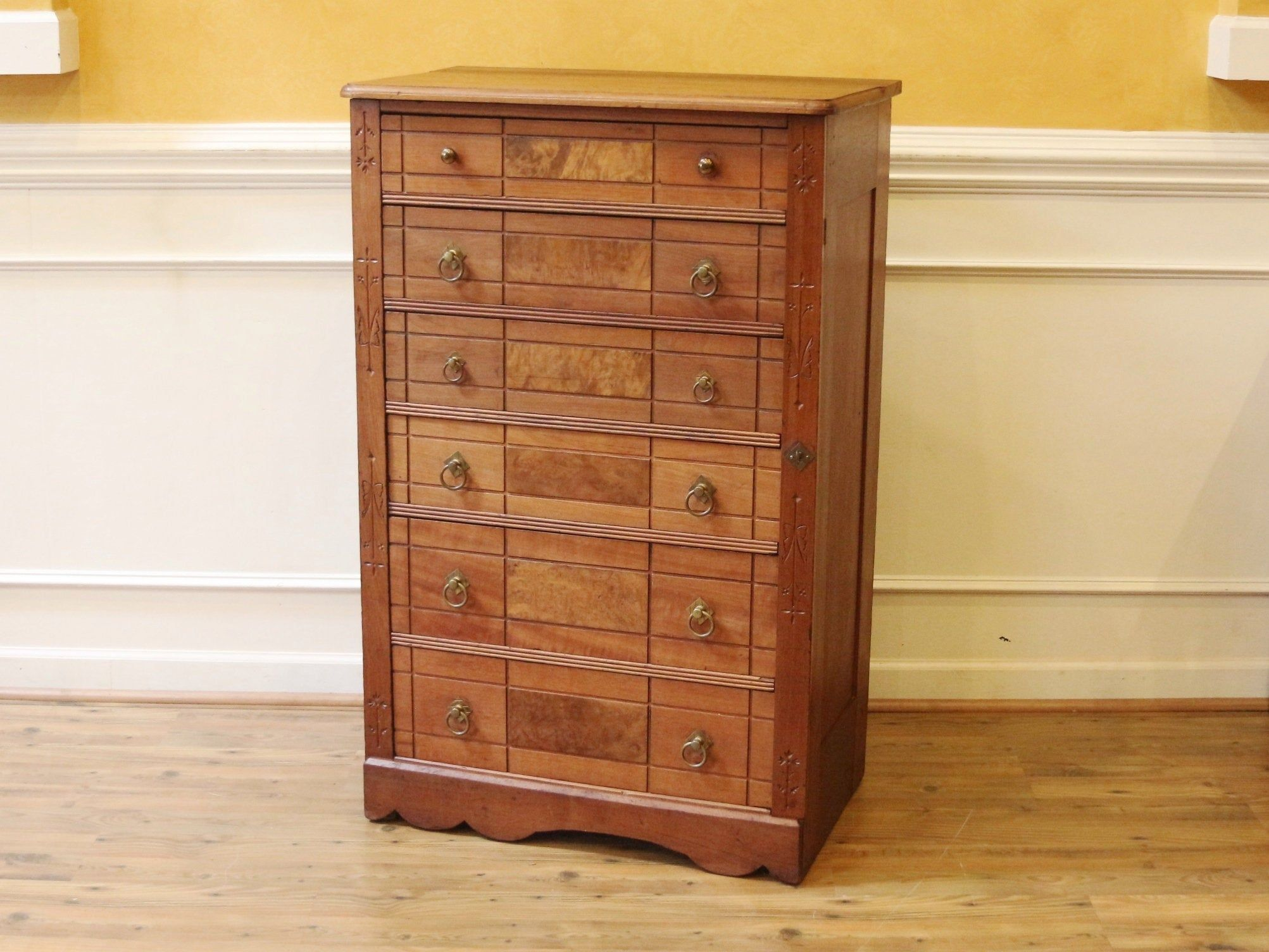 Antique eastlake style lock side tall chest of drawers