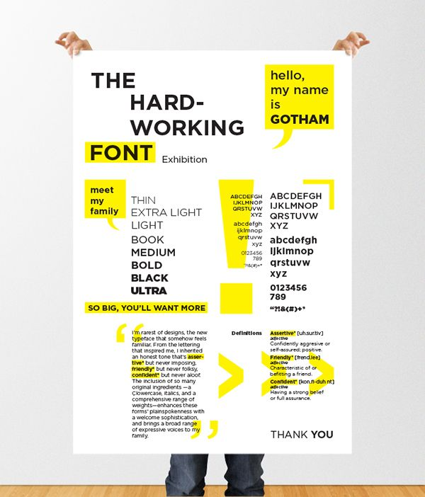 create an informative poster for an exhibition of the font gotham in