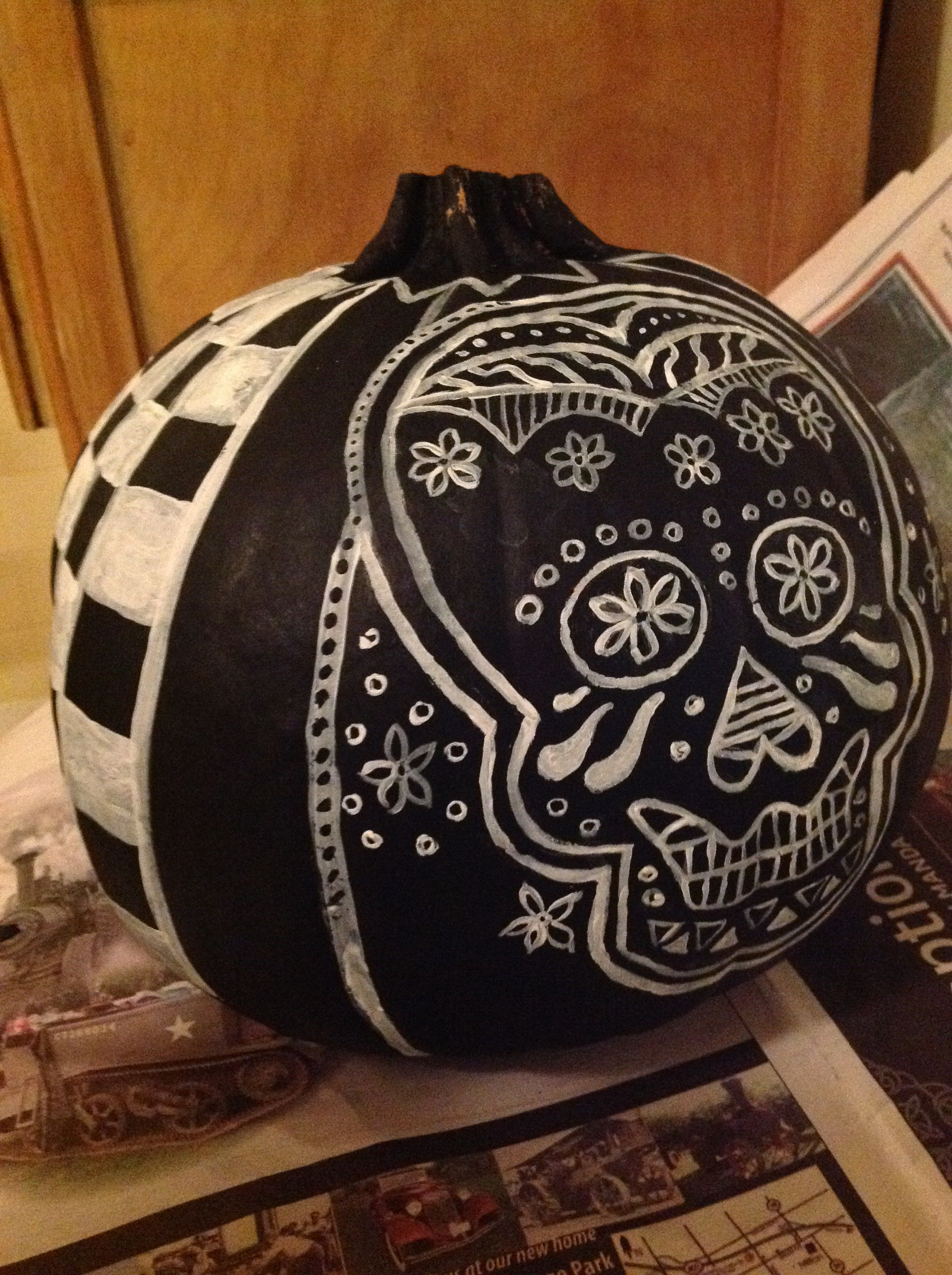 Painted pumpkin sugar skull