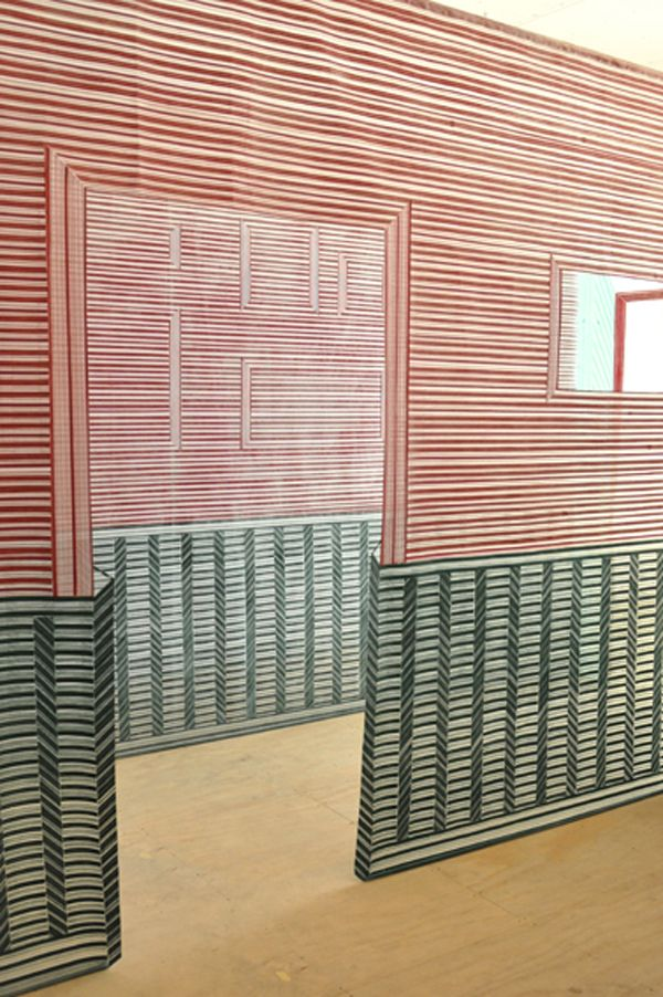 Wies Preijde, using thread, weaves lines in graphic formation to create the illusion of rooms and hallways   via Trendland