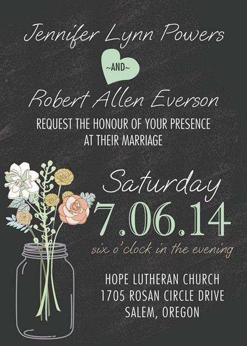 cheap blush pink spring mason jars floral boho pocket wedding - chalk board invitation template
