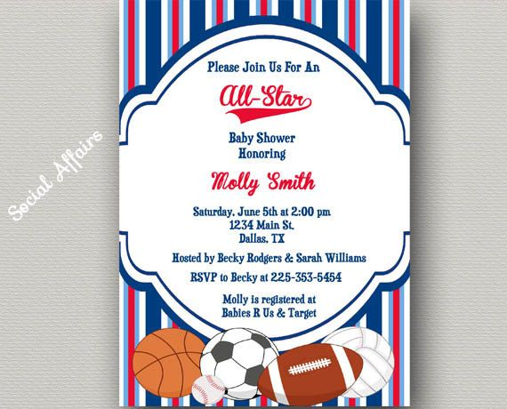 sports baby shower invitation - diy printable invitation | baby, Baby shower invitations
