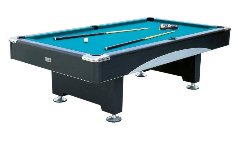 Our Vegas Minnesota Fats Billiards Pool Table Features Attractive Dark  Vinyl Laminate And Striking Silver Decorative Accents With Metallic Corner  Caps.
