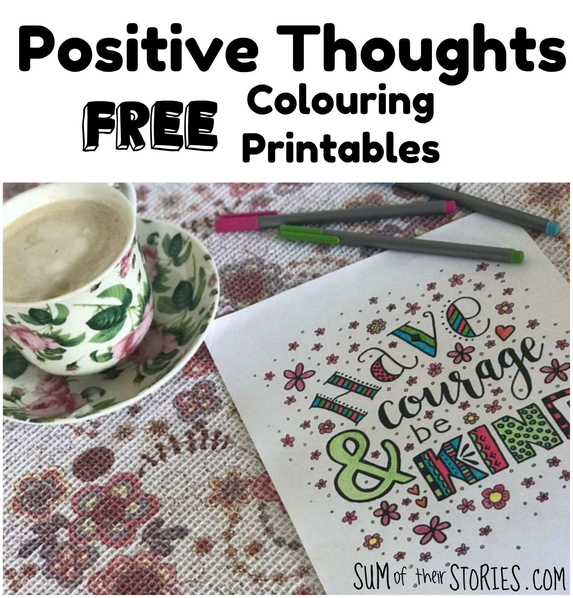 Positive Thoughts Free Printable Colouring Pages