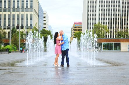 The Alberta Legislature provided urban and natural backgrounds for this couples August engagement session. kjewellphoto.com
