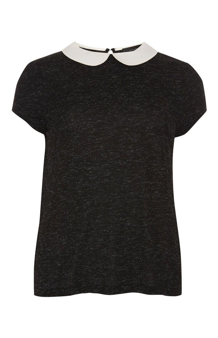Primark   Zwart shirt met wit kraagje   PRIMARK   Pinterest   Primark, Collar top and Clothes