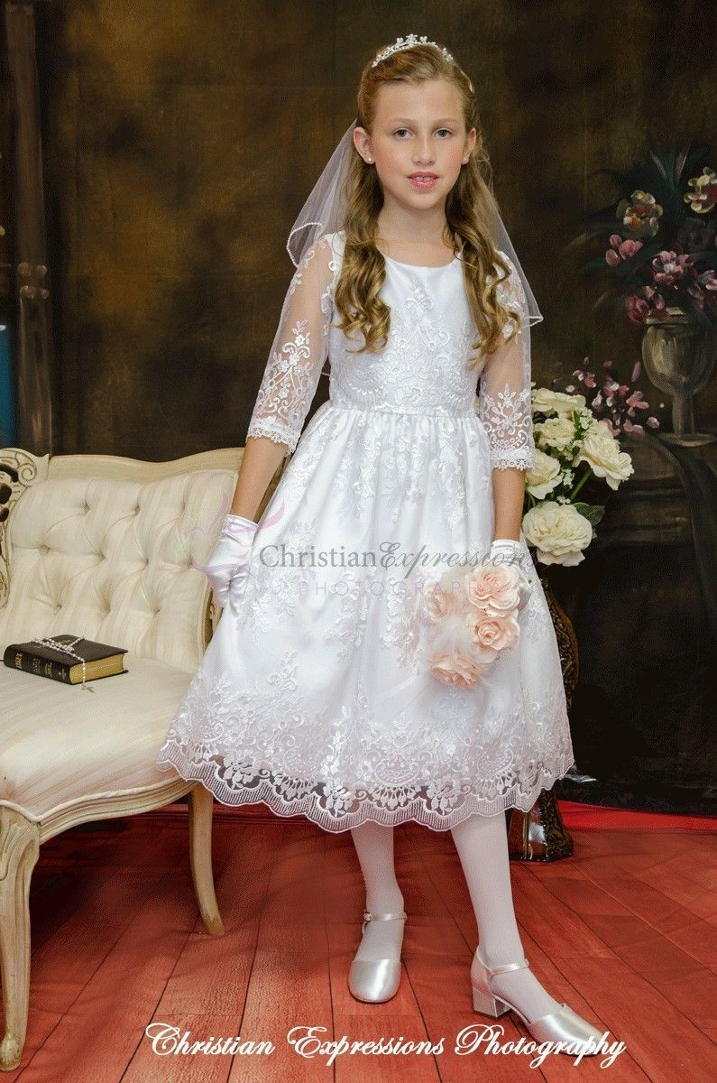 Lace Organza First Communion Dress With Three Quarter Sleeves First Communion Dresses Communion Dresses Lace Communion Dresses [ 1200 x 795 Pixel ]