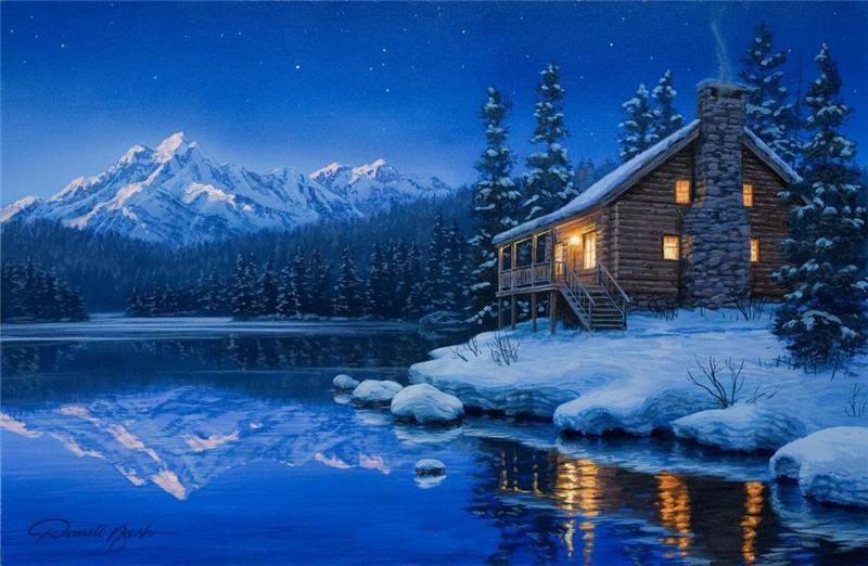 Darrell Bush, artist ~ cabin lake winter | Lakes / Rivers ...