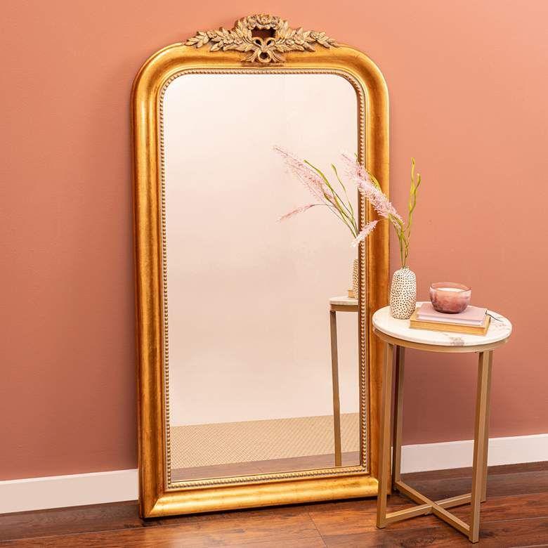 Camilla Antique Gold 30 1 2 X 58 Arched Floor Mirror 79a48