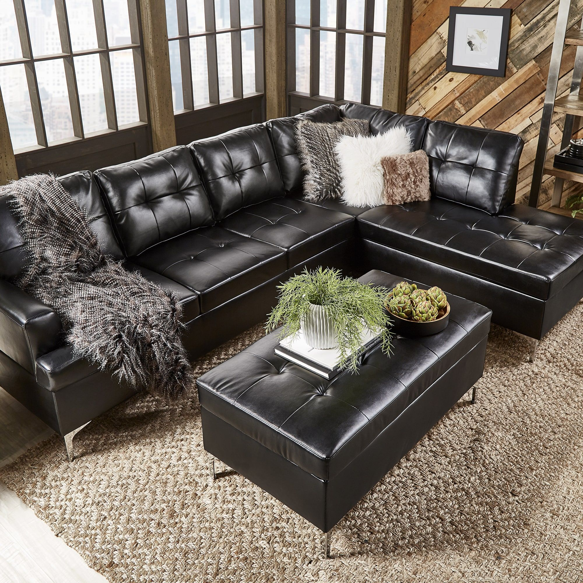 Amazing Bonnie Tufted Faux Leather Sofa Sectional With Chaise By Ncnpc Chair Design For Home Ncnpcorg