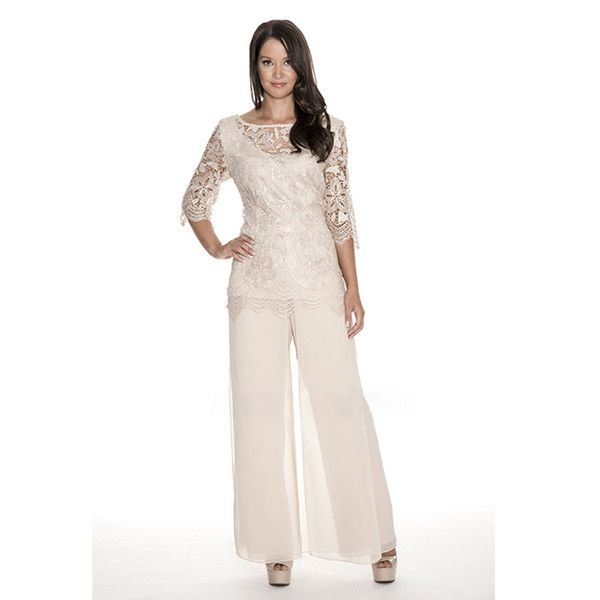 Cheap High Quality Lace Mother Of The Bride Pant Suits Sheer Bateau ...