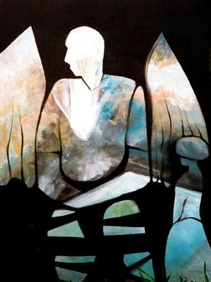 Stone Angel acrylic painting 36 x 48 by Eva Lewarne