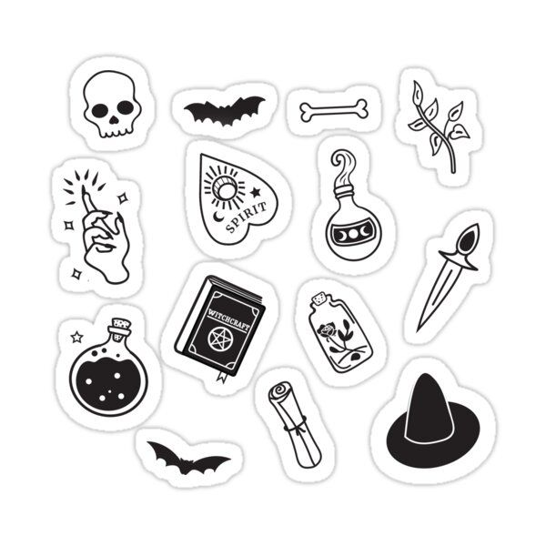 Witchy Essence Sticker By Bonnabell Black Stickers Black And White Stickers Printable Stickers