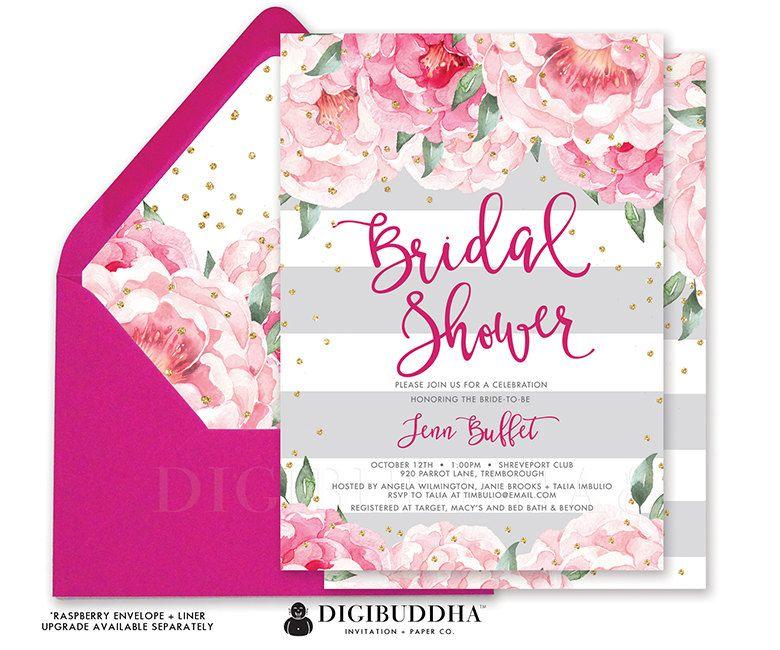 Bridal Shower Invitation Pink Peonies Gray Por Digibuddhapaperie