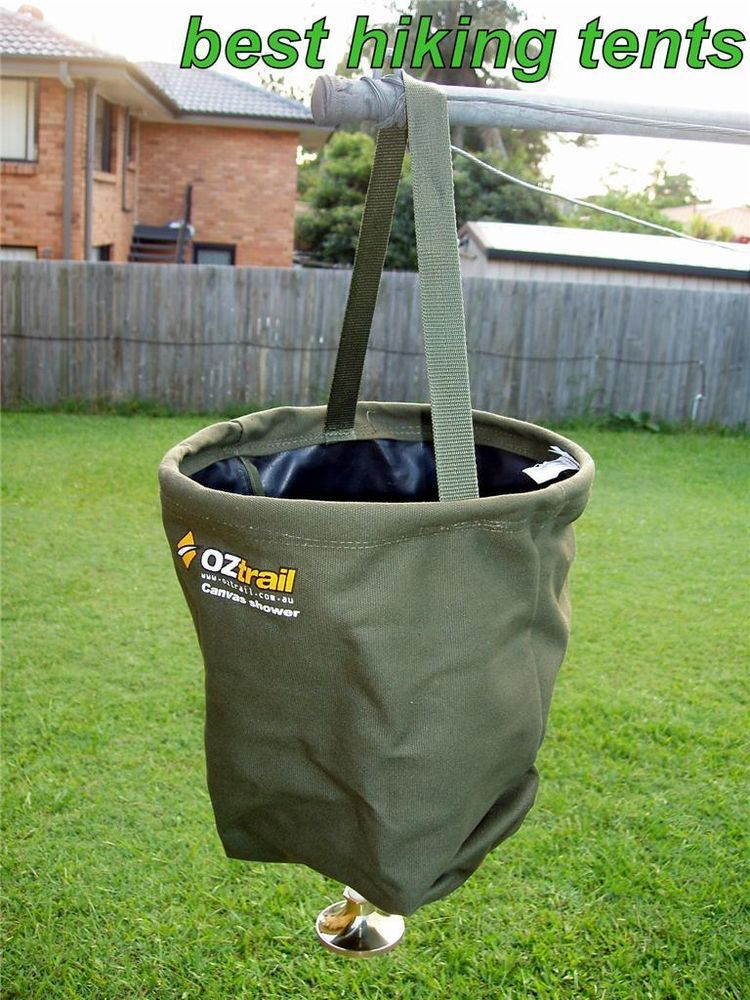 Oztrail Canvas Shower Bucket Pocket Camping Hiking Camp Portable Water Bag Case