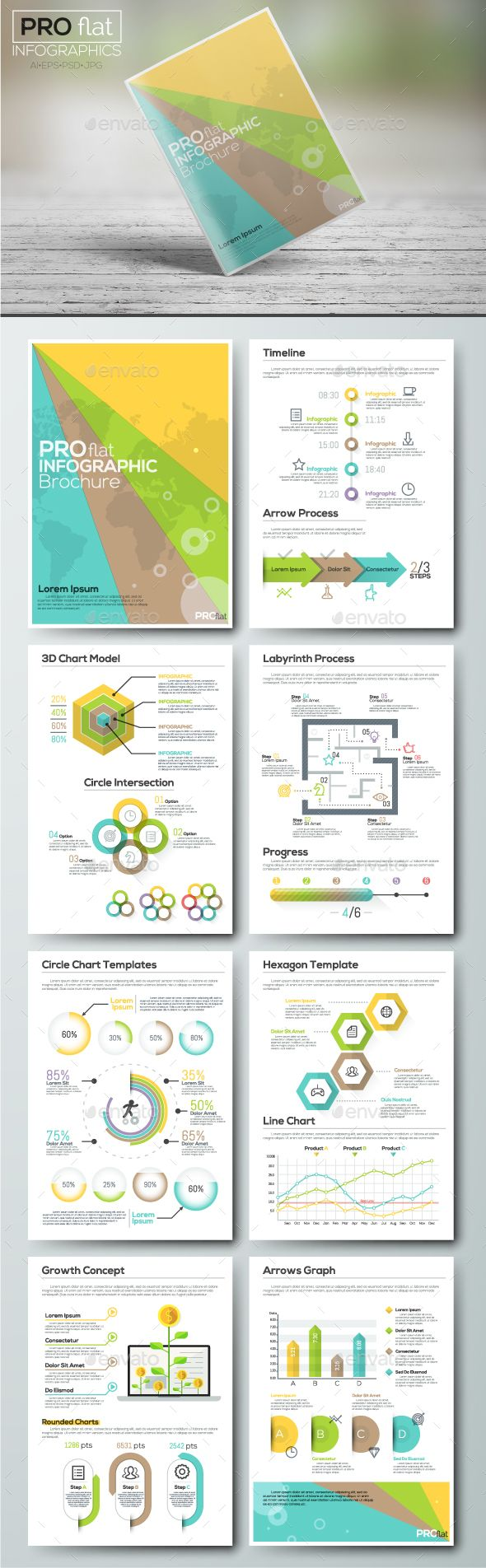 Pro Flat Infographic Brochure Template PSD, Vector EPS, AI Illustrator.  Download Here: