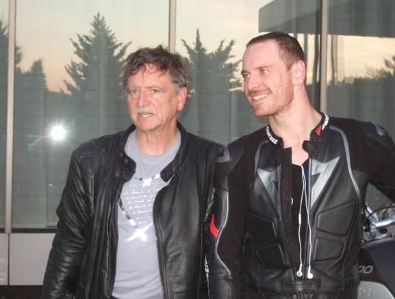 Michael and Daddy Fassbender during their 2011 European motorcycle ride holiday tour.