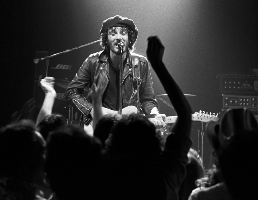 Bruce Springsteen serenading the crowd, 1970's Bruce