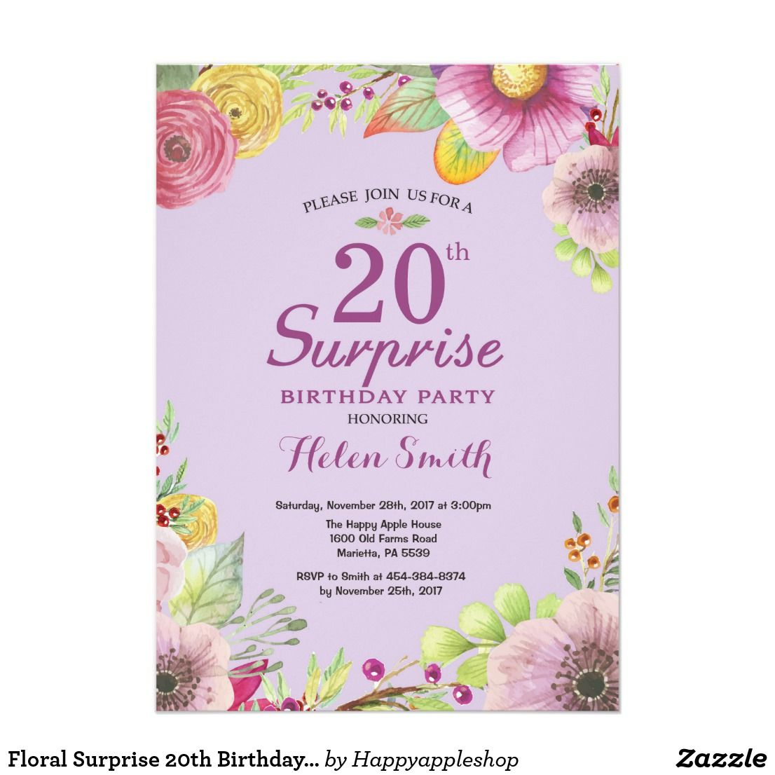 Floral Surprise 20th Birthday Invitation Purple