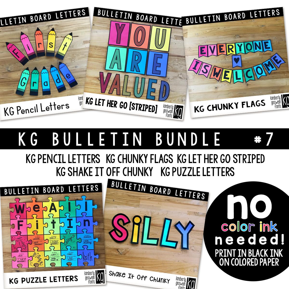 Kg Bulletin Board Letter Bundle 7 Five Sets Of Printable Bulletin Boards No Color Ink Bulletin Board Letters Bulletin Boards Back To School Bulletin Boards