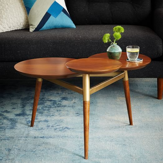 clover coffee table, walnut top, antique brass frame, walnut legs