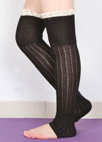 COWGIRL GYPSY LEG WARMERS Cream Lace Crochet with Long Black Knit Leg Warmer Boot Socks