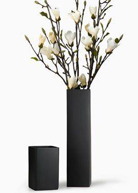 9- and 21in matte black square ceramic vases (shown w/ magnolia