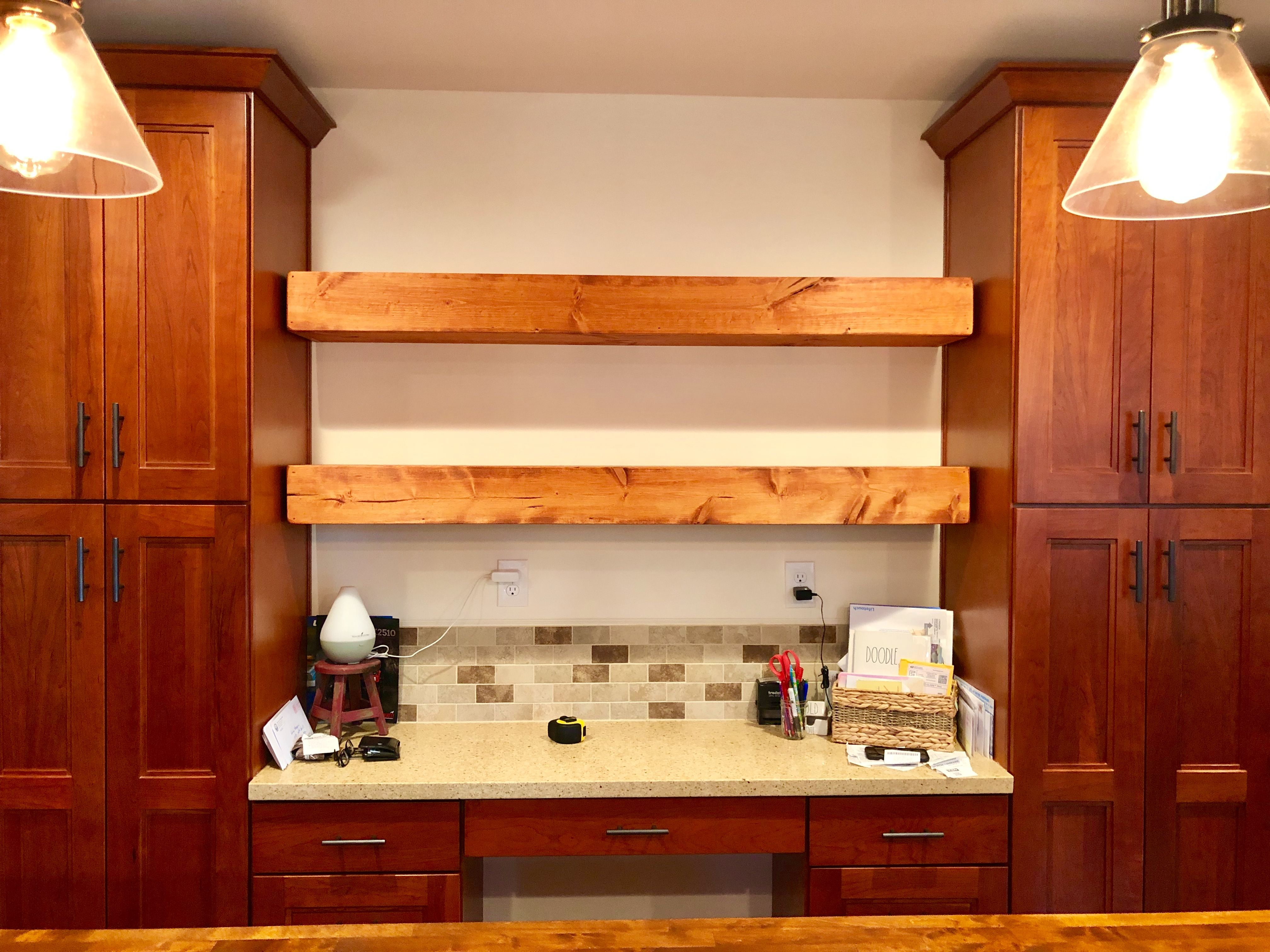 custom sized and stained floating shelves the customers on floating shelves kitchen id=82008