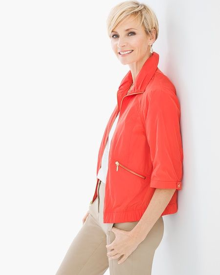 """Crisp to sunny, wet or windy, this is the perfect jacket to take you through spring's forecast fluctuations. It's vibrant and lightweight, with front pockets and comfy elastic at the hem and cuffs. (With the gold-tone zipper detailing that's as refreshing as the first tulip blooms of the season.)          3/4-sleeves.    Regular length: 22"""".    Petite length: 21"""".    Polyester.    Machine wash. Imported."""