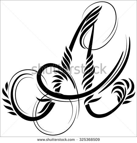 Beautiful Letters Monogram Decoration The Graphic Symbol Alphabet Forest Style Tattoo A