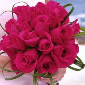 Vibrant Romantic Bridal Rose Bouquets With Dark Pink Roses With