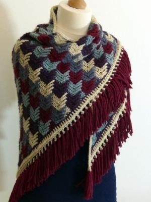 Free Crochet Pattern: Arrow Tails Shawl - I love the crochet stitch pattern on this shawl! by judy