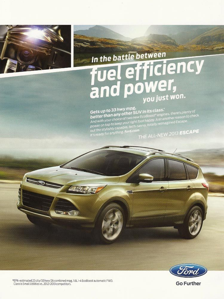 2013 Ford Escape Ad In The Battle Between Fuel Efficiency And
