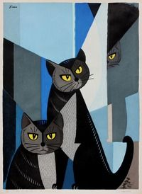 Tomoo Inagaki (Japanese, 1902 – 1980) Cats in blu