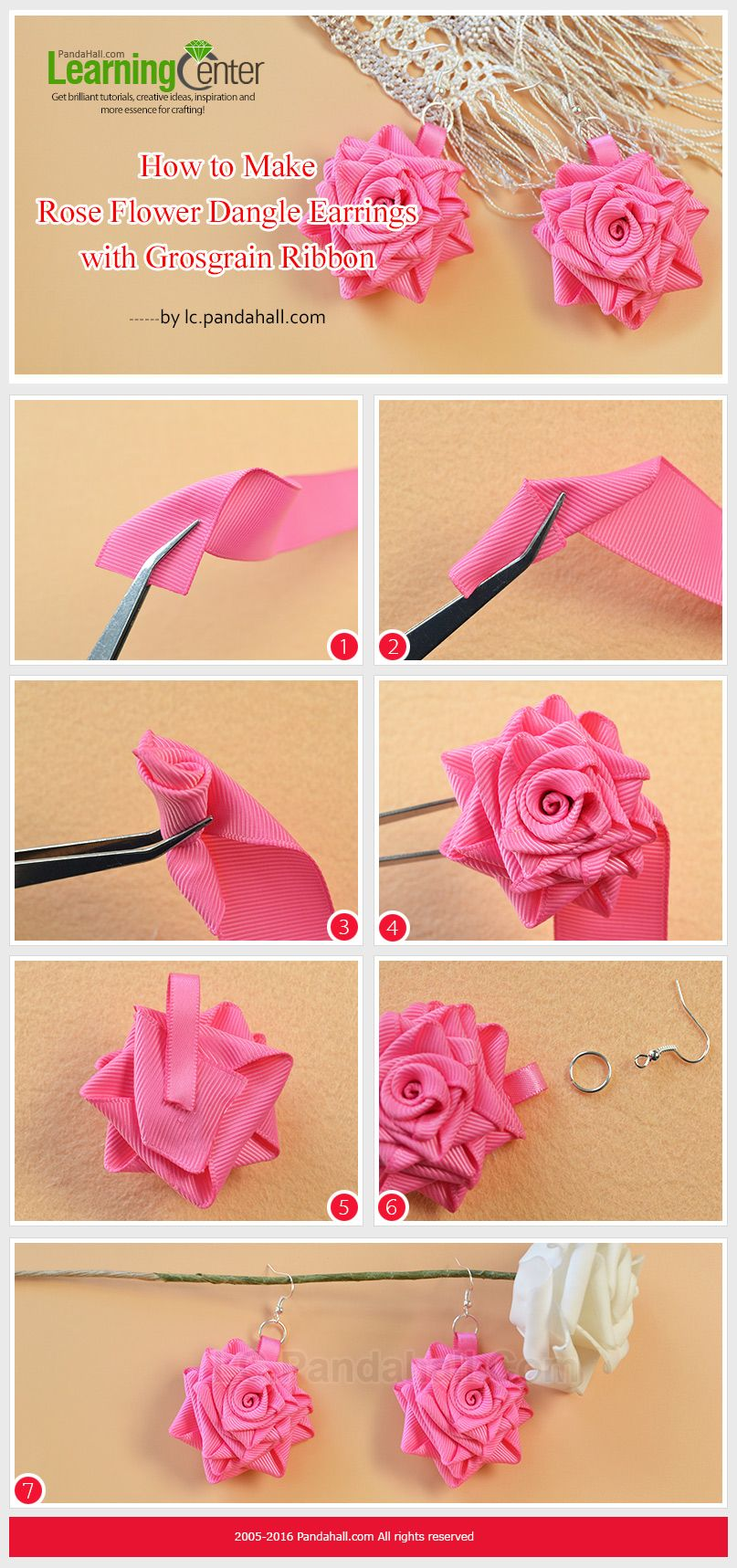 Tutorial on How to Make Rose Flower Dangle Earrings with Grosgrain Ribbon from LC.Pandahall.com