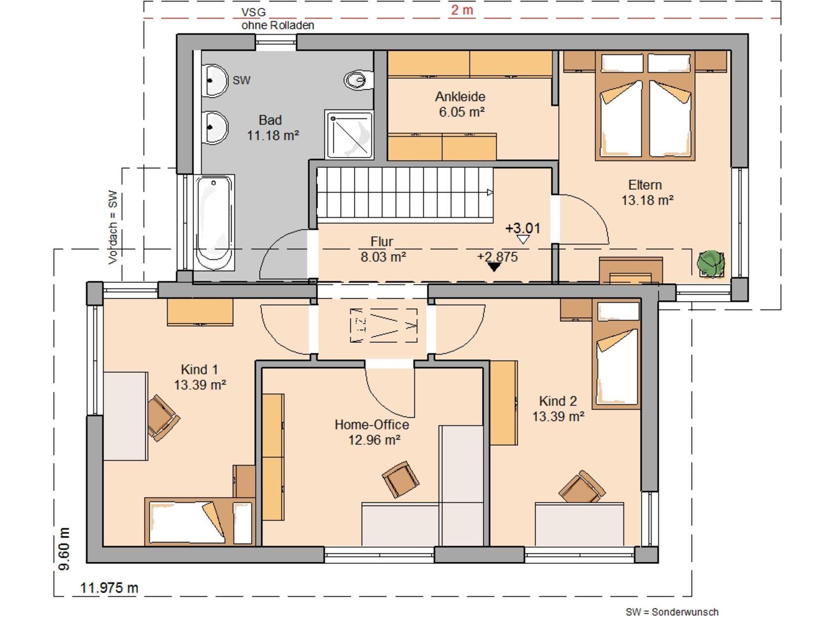 Kern Haus Familienhaus Futura Pult Grundriss Dachgeschoss