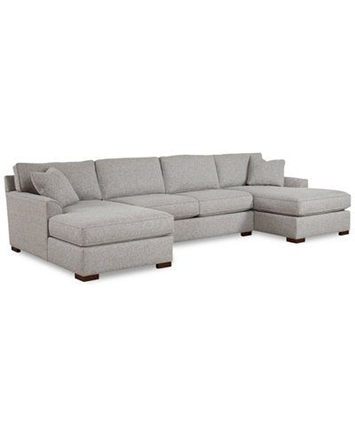 Furniture Closeout Carena 3 Pc Fabric Sectional Sofa With Double Chaise Created For Macy S Reviews Furniture Macy S Fabric Sectional Sofas Sectional Sofa Double Chaise Sectional