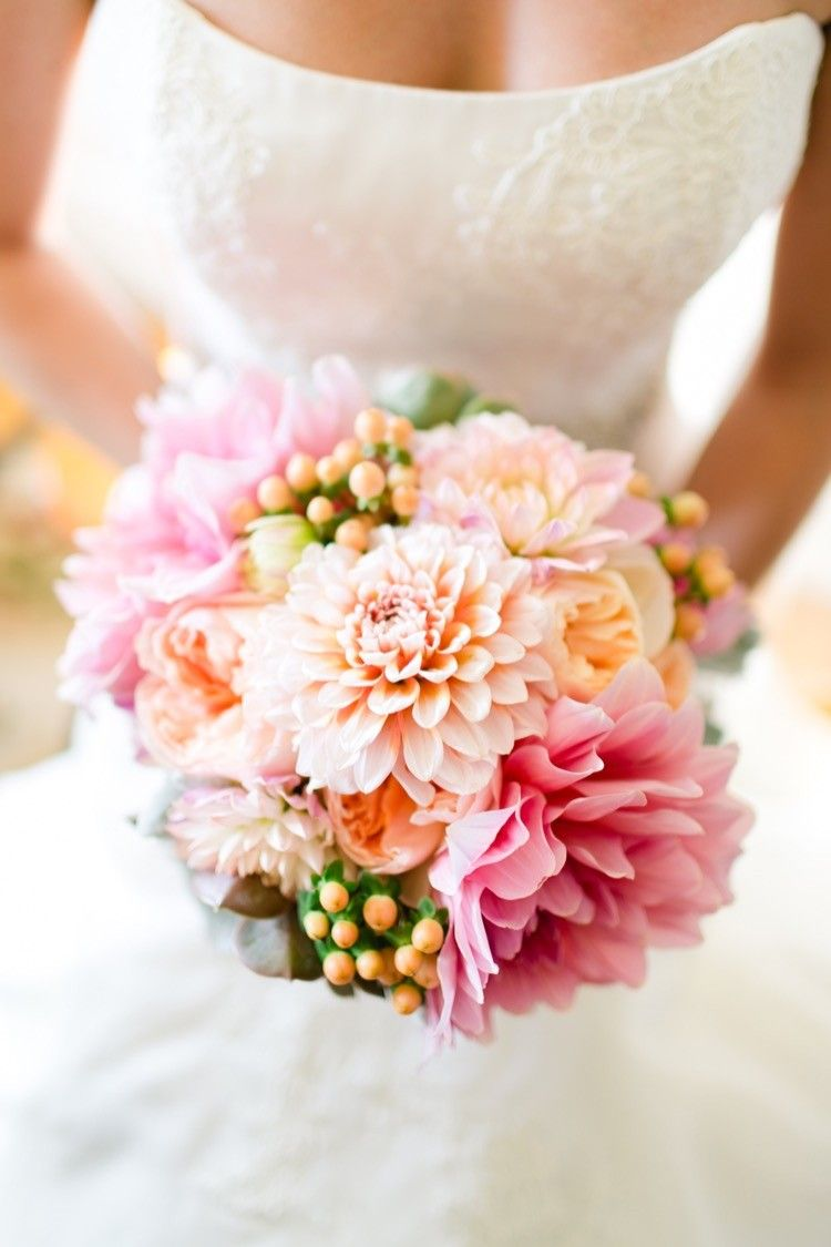 Pretty Pink Peach Dahlia Wedding Bouquet Littlewhitebook