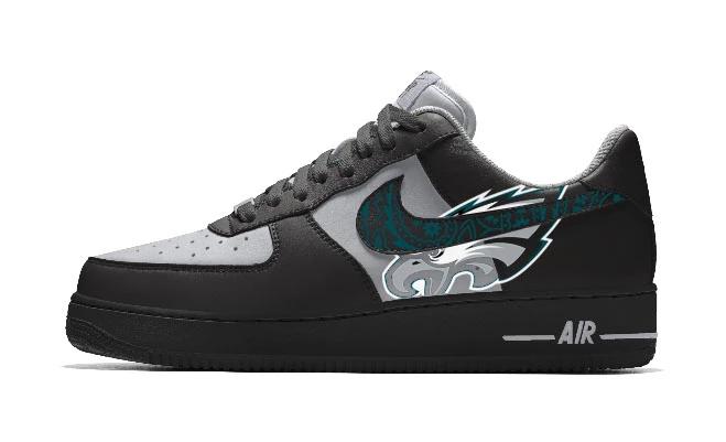 Custom Nike Air Force 1 Low Shoes Black Phila Eagles Big