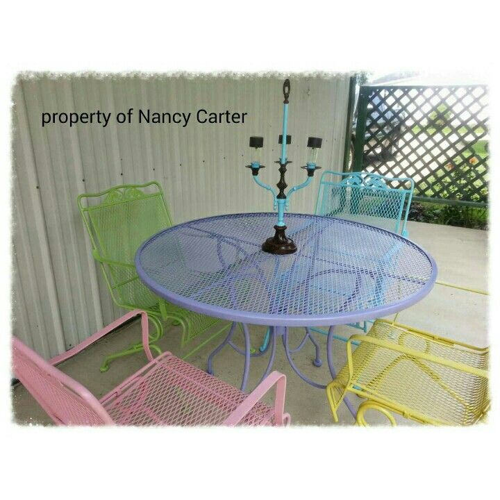My patio furniture that I changed from dreary green to bright and cheery!