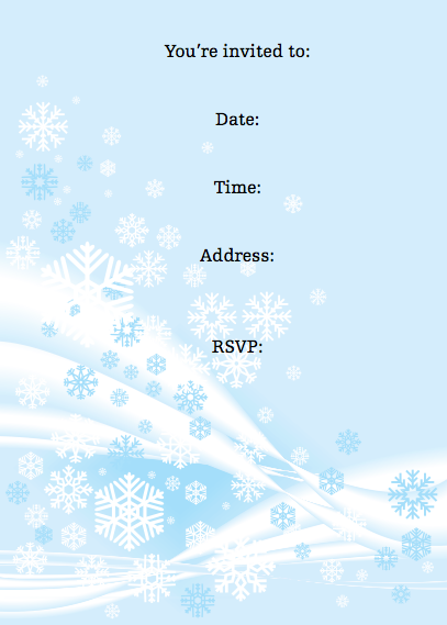 winter wonderland kids birthday party downloadable free invitation, party invitations
