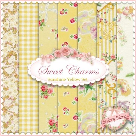 Mary Rose Sweet Charms  Sunshine Yellow  7 FQ Set by Quilt Gate: Mary Rose is a time-tested group of fabrics by QuiltGate.  These fabrics are from the Sweet Charms collection.  100% cotton.  This set contains 7 fat quarters, each measuring approximately 18 x 21.