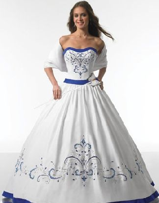 white and royal blue wedding dresses | Blue wedding gowns ...