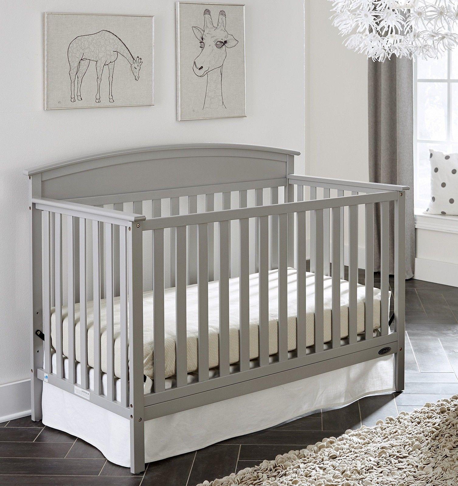 Gray Convertible Crib 5 In 1 Nursery Furniture Baby Bed Sleeper Graco Wood Frame