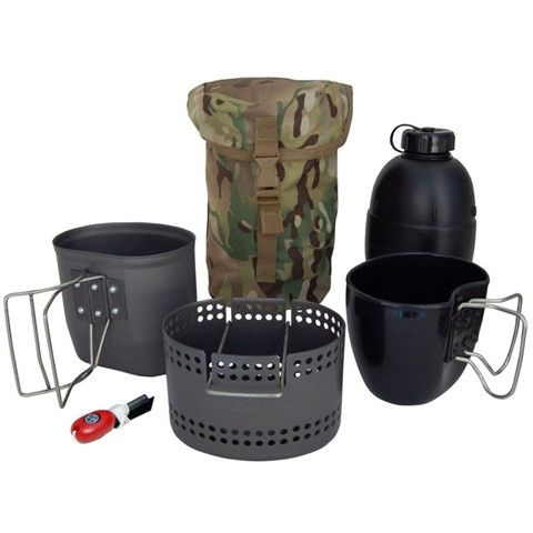 BCB 4 Piece Crusader Metal Mug,Cooker /& 58 Bottle+Cup Silver or Black Finish