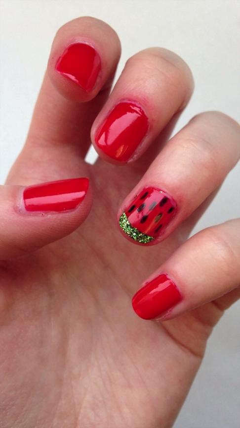 DIY Glitter Watermelon Nail Design | Beauty Ideas | Pinterest ...