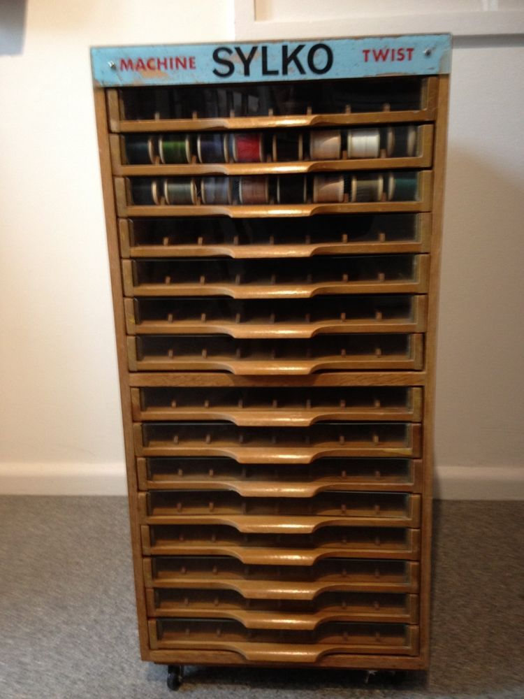 Dewhurst Sylko Wooden Machine Cotton Reel Haberdashery Shop Display Cabinet  This Cabinet Is In Good Used Condition   All The Trays Are Complete Some Of  The ...