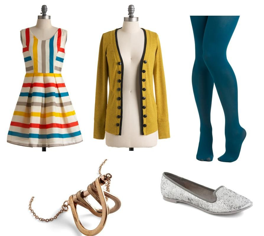 Autumn casual. Bold-lined dress, dandelion cardi, teal tights, brassy necklace and metallic flats.